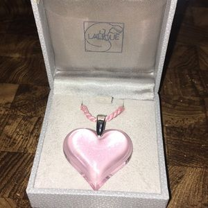 LALIQUE Pink Crystal Heart Pendant Rope Necklace